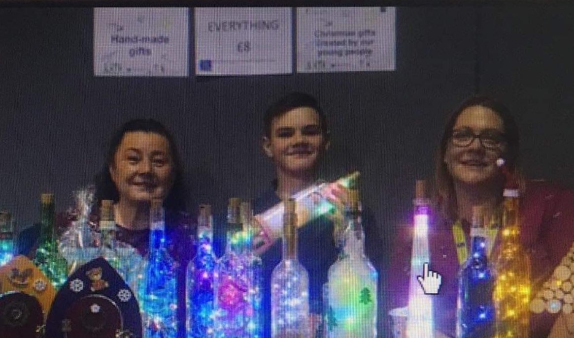 Bottles with fairy lights in
