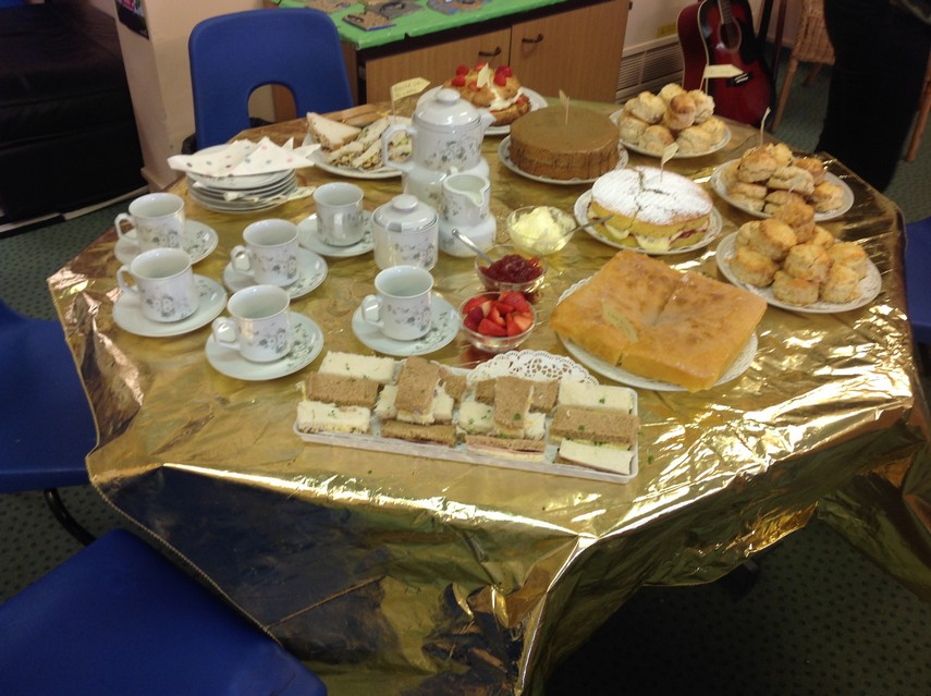 Afternoon tea laid out on table